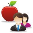 Two educators and an apple